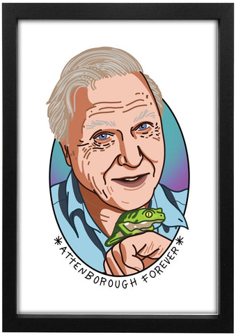 Sir David Attenborough - Attenborough Forever Print - Jiggle Apparel