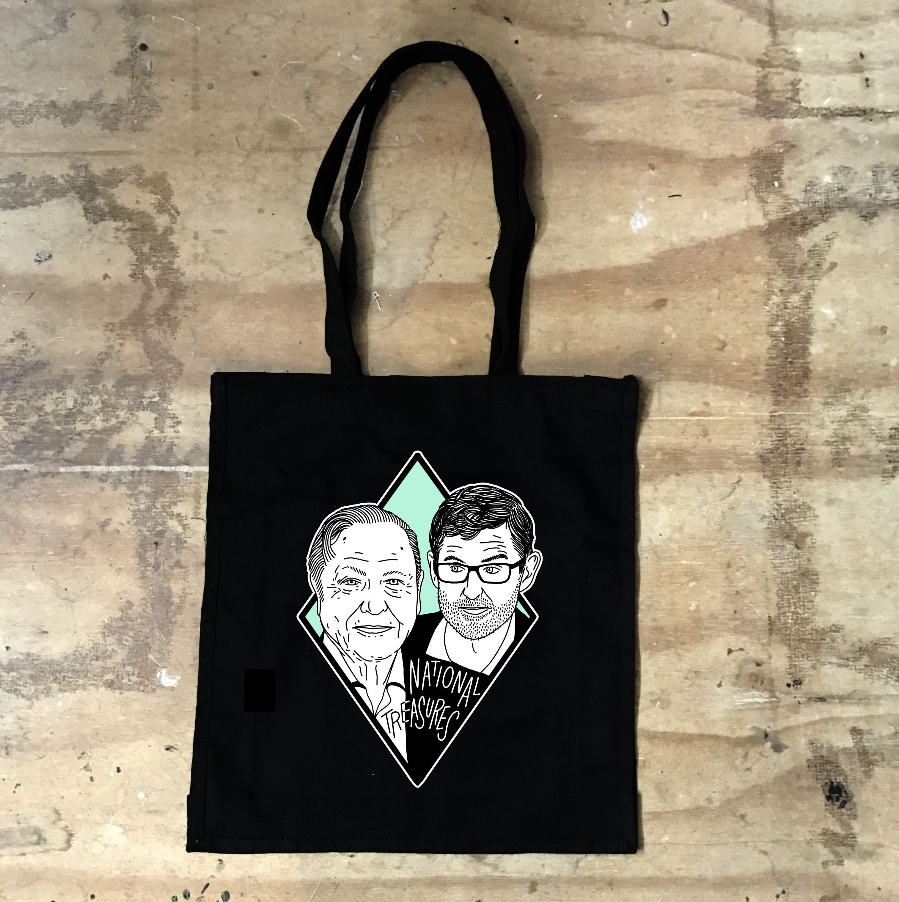 Louis Theroux and David Attenborough - National Treasures Black Tote Bag - Jiggle Apparel