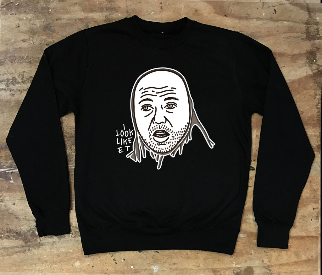 Karl Pilkington - I look like ET - Crew Neck Sweater - Jiggle Apparel