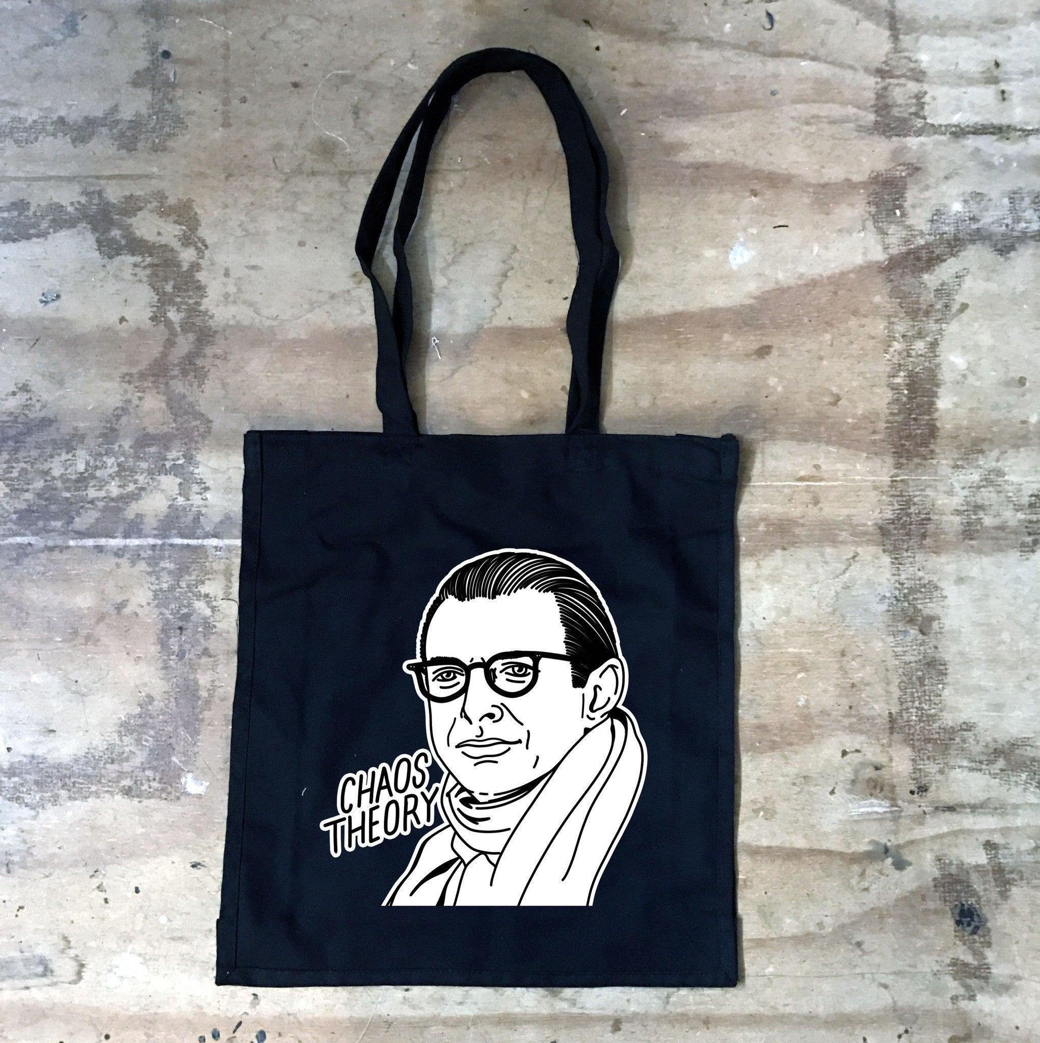 Jeff Goldblum - Chaos Theory - Black Tote Bag - Jiggle Apparel