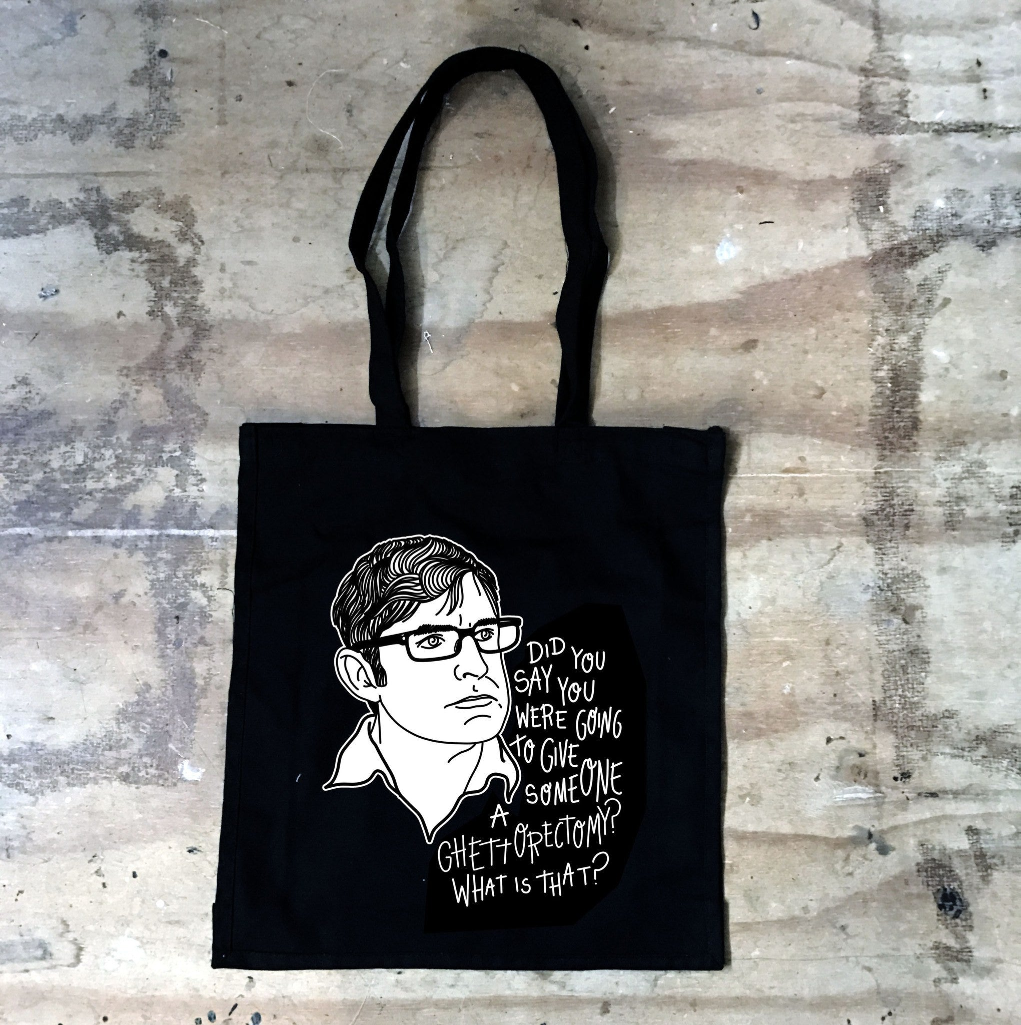 Louis Theroux - Ghettorectomy - Black Tote Bag - Jiggle Apparel