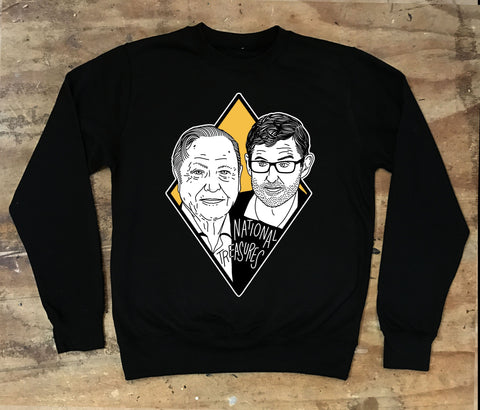 Louis Theroux and David Attenborough - National Treasures Crew Neck Sweater - Jiggle Apparel