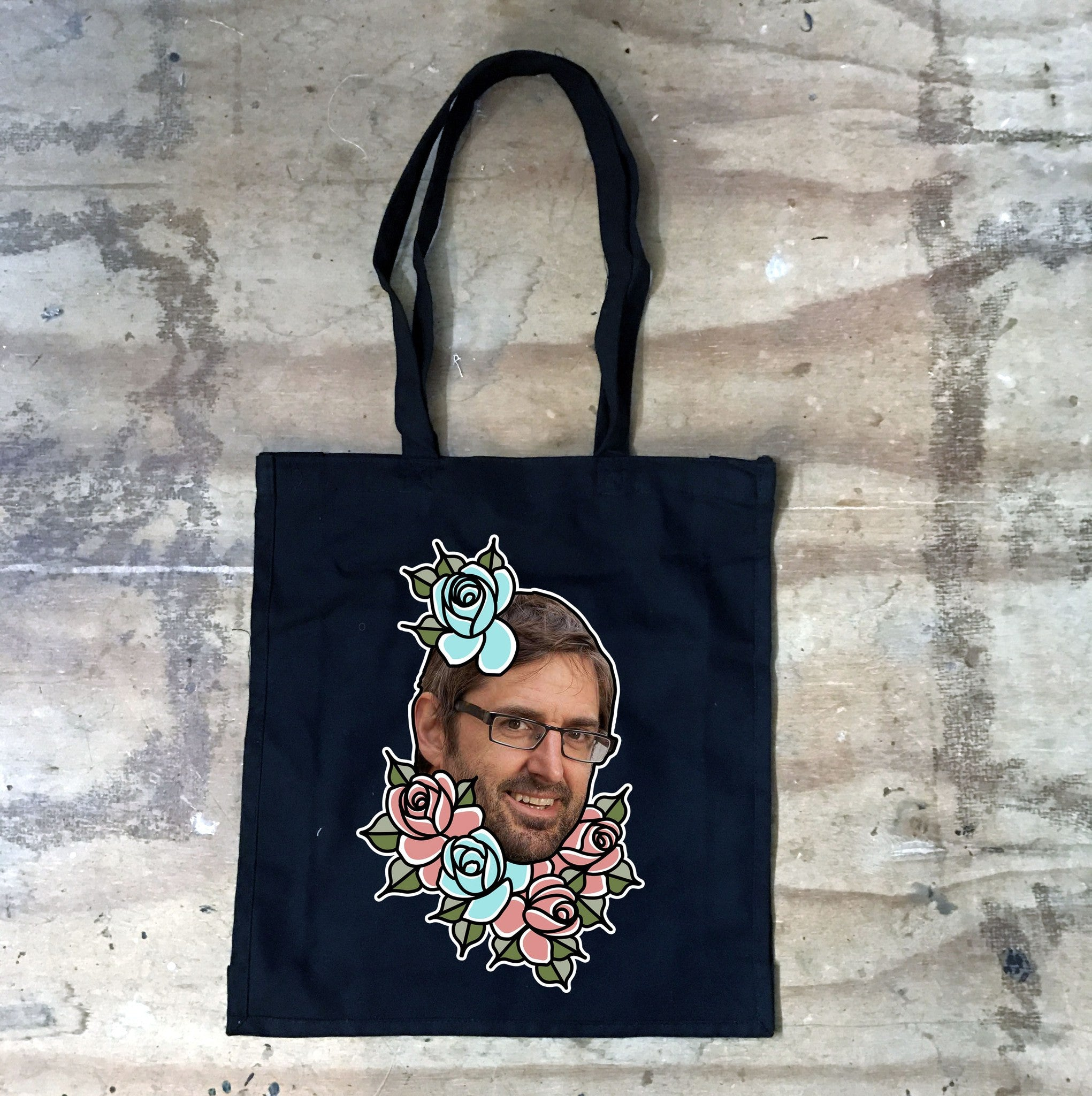 Louis Theroux - Louis Flowers -  Black Tote Bag - Jiggle Apparel