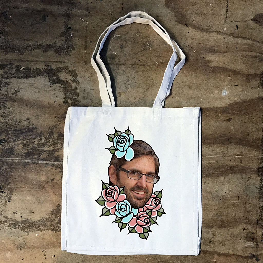 Louis Theroux - Louis Flowers -  Tote Bag - Jiggle Apparel