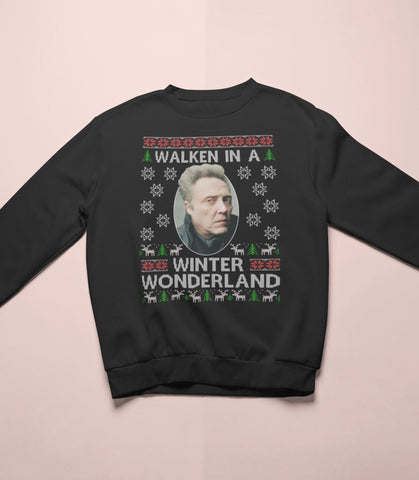 Christopher Walken  - Walken In A Winter Wonderland - Christmas Sweater - Jiggle Apparel