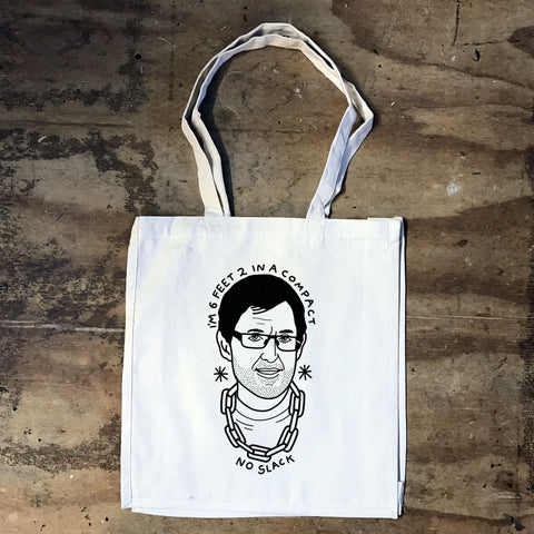 Louis Theroux - I'm 6 feet 2 in a Compact, No Slack Tote Bag - Jiggle Apparel