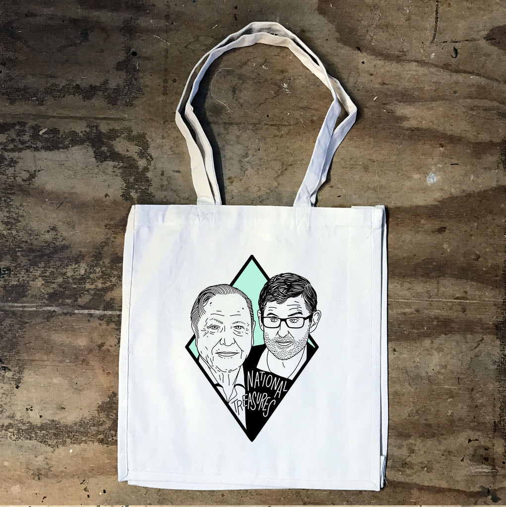 Louis Theroux and David Attenborough - National Treasures White Tote Bag - Jiggle Apparel