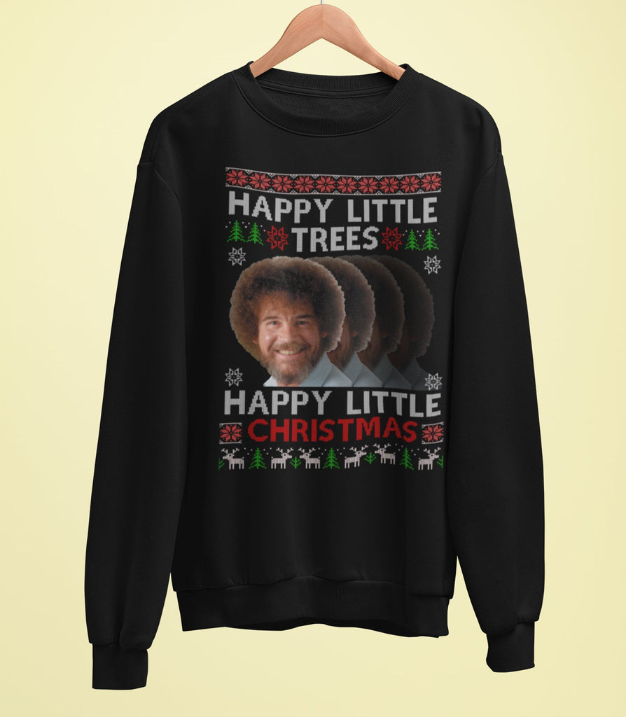 Bob Ross Christmas Sweater - Happy Little Trees, Happy Little Christmas - Jiggle Apparel