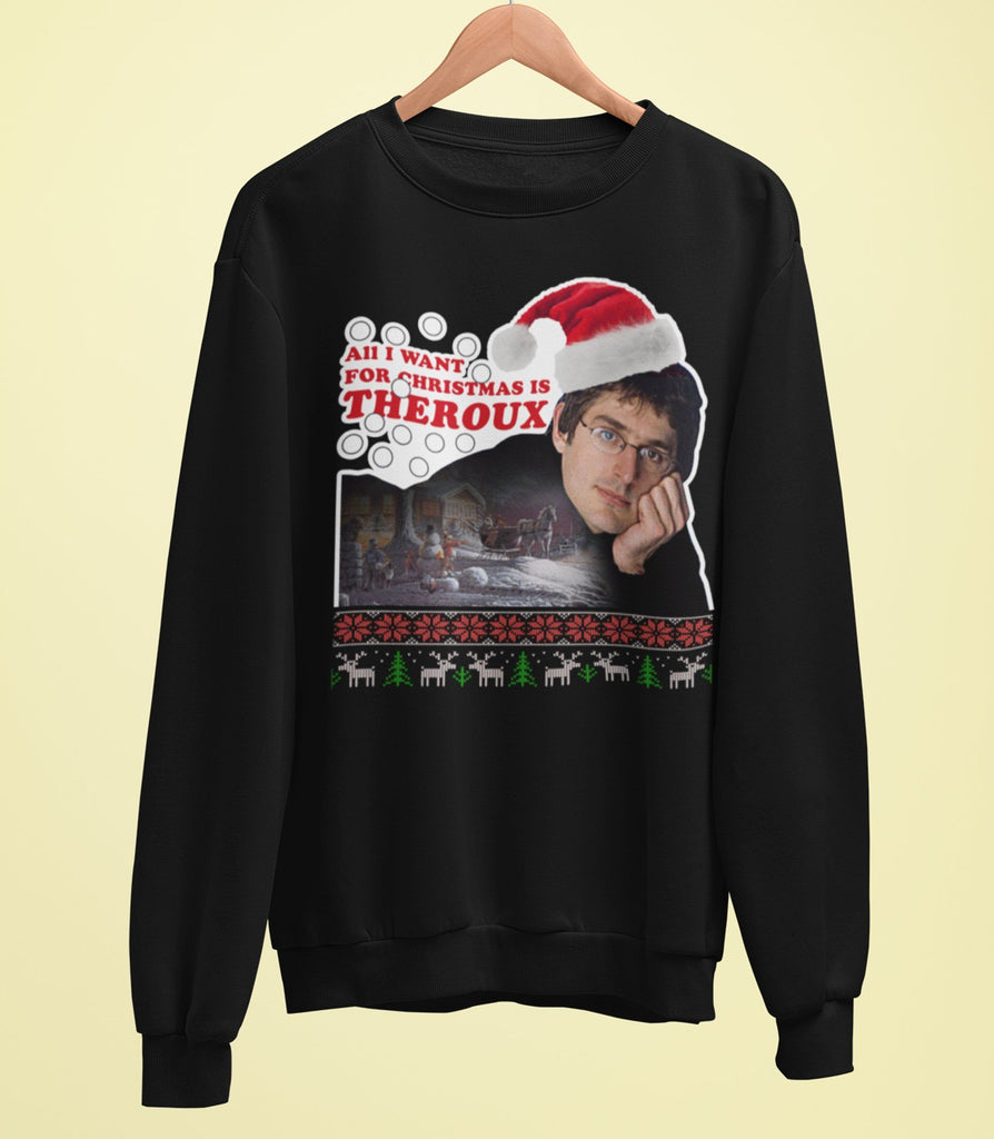 Louis Theroux - All I Want For Christmas Is Theroux - Christmas Card Sweater - Jiggle Apparel