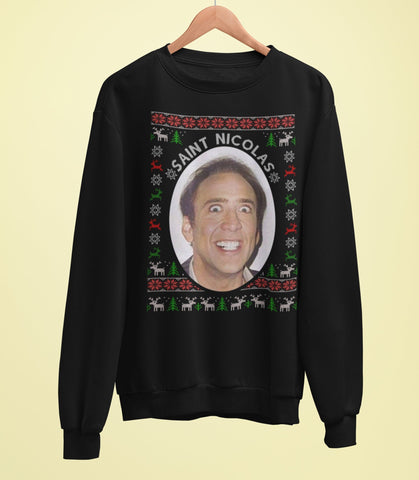 Nicholas Cage Christmas Sweater - Saint Nicholas - Jiggle Apparel