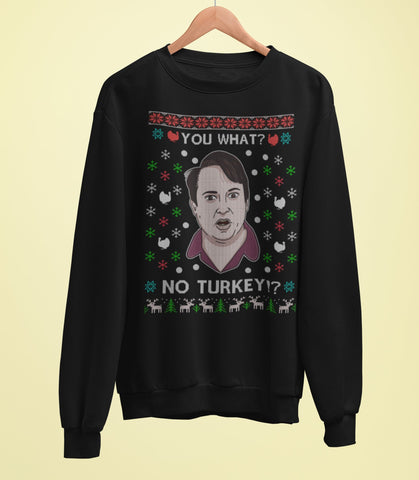 Peep Show Christmas Sweater - You What, No Turkey! - Mark Corrigan - Jiggle Apparel