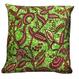AFRICAN HOMEWARES - custom made cushion - 100% cotton Ankara material - African fabrics australia -Jungle vine