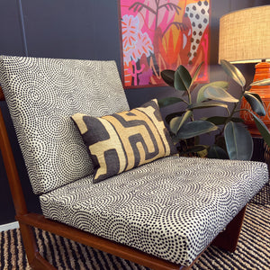 KUBA CLOTH CUSHION - CHARCOAL