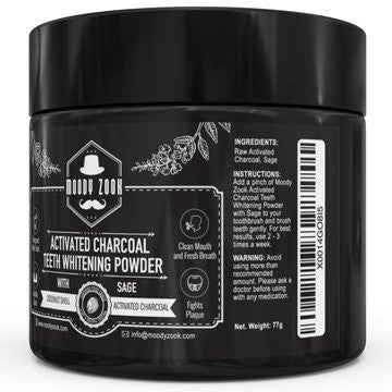 Moody Zook Natural Activated Charcoal Teeth Whitening Powder with Organic Sage