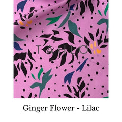 Ginger flower lilac tencel fabric Swatch