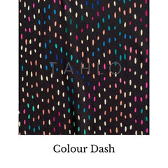 Fabric swatch with colourful dashes