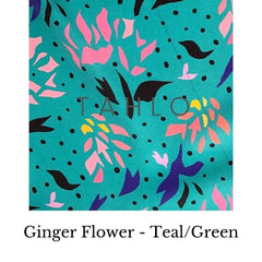Fabric swatch tencel floral on green