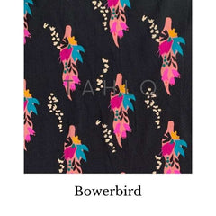 Fabric swatch with bowerbirds