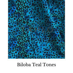 Fabric swatch of teal coloured flowers