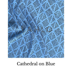 dots on blue fabric swatch
