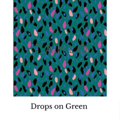 fabric swatch drops on green