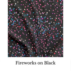 Fabric swatch fireworks on black