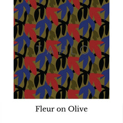 Fabric swatch - fleur on olive