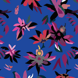 Fabric Swatch with Pink Lotus on cobalt blue