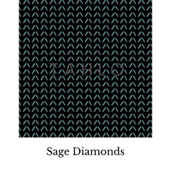 Sage shapes on black fabric swatch