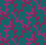 Fabric swatch showing pink branches on green