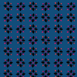 Fabric swatch of flower motif on blue
