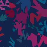 Fabric print of Winter seaweed on navy background