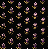 Fabric swatch of dash flowers on black