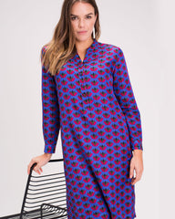 Jessica Silk Shirt Dress - Blue Lotus