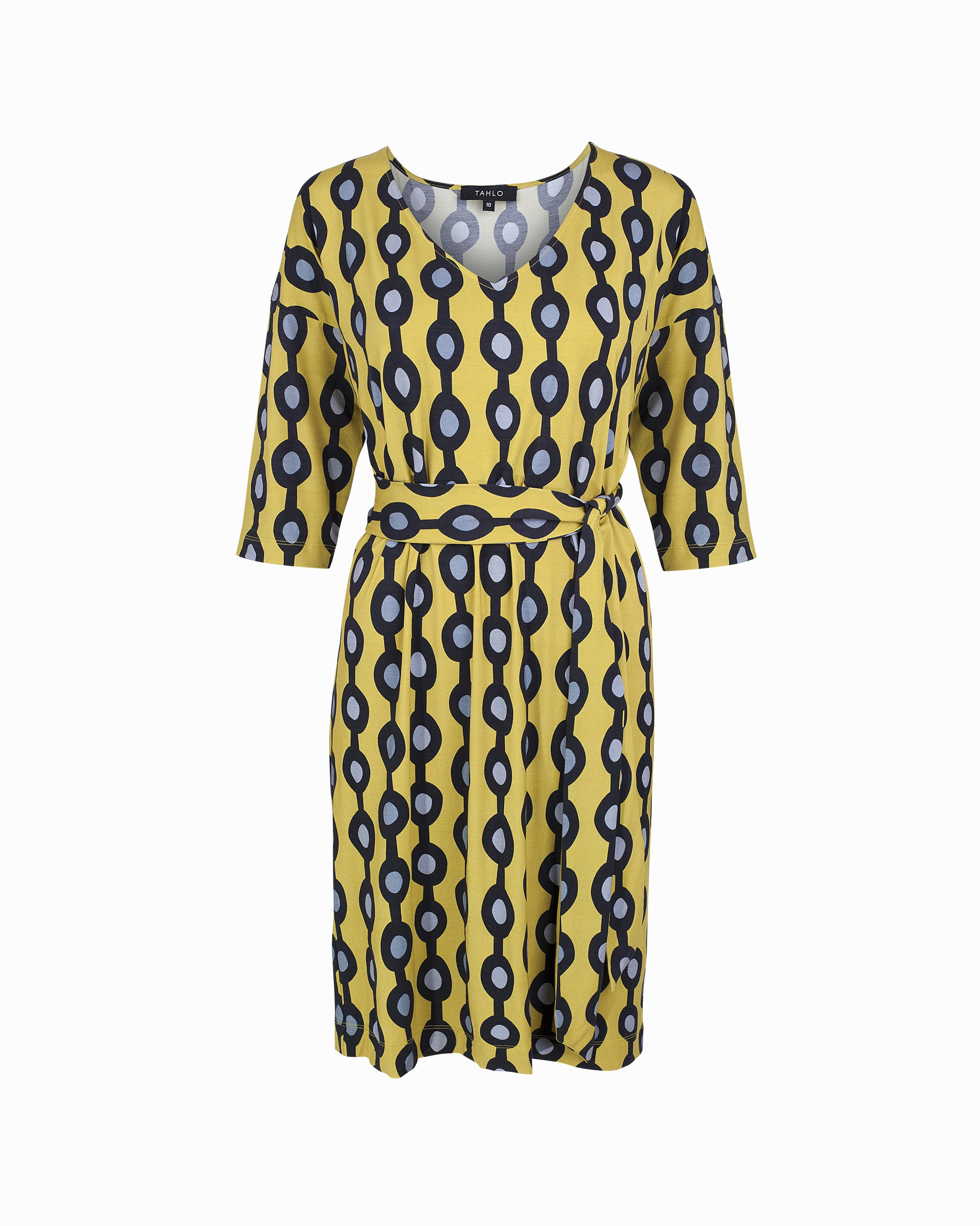 Saskia Square Dress - Yellow Chain Print