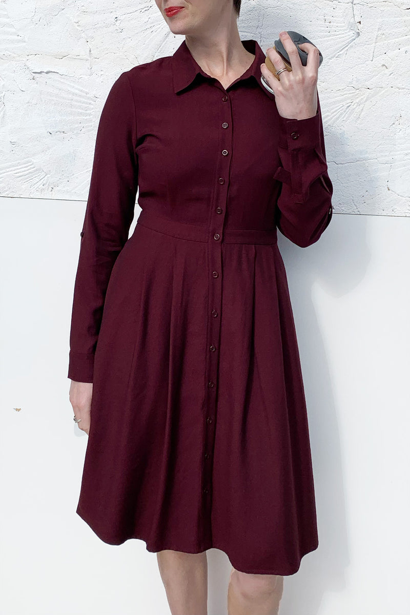 York Shirt Dress - Flared Skirt - Mulberry