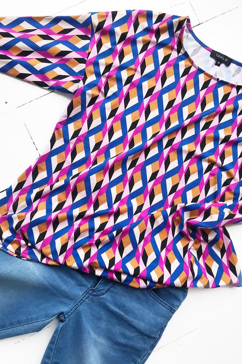 The Tokio Knit Top - Pink Angles