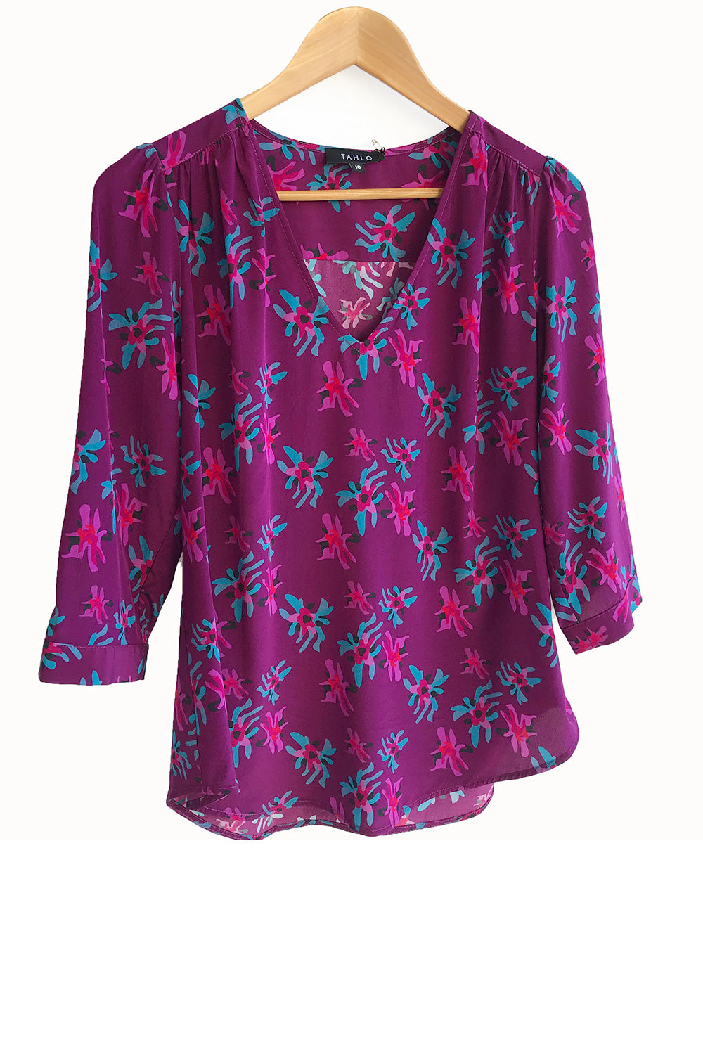 Veda Silk Blouse - Dogwood on Plum