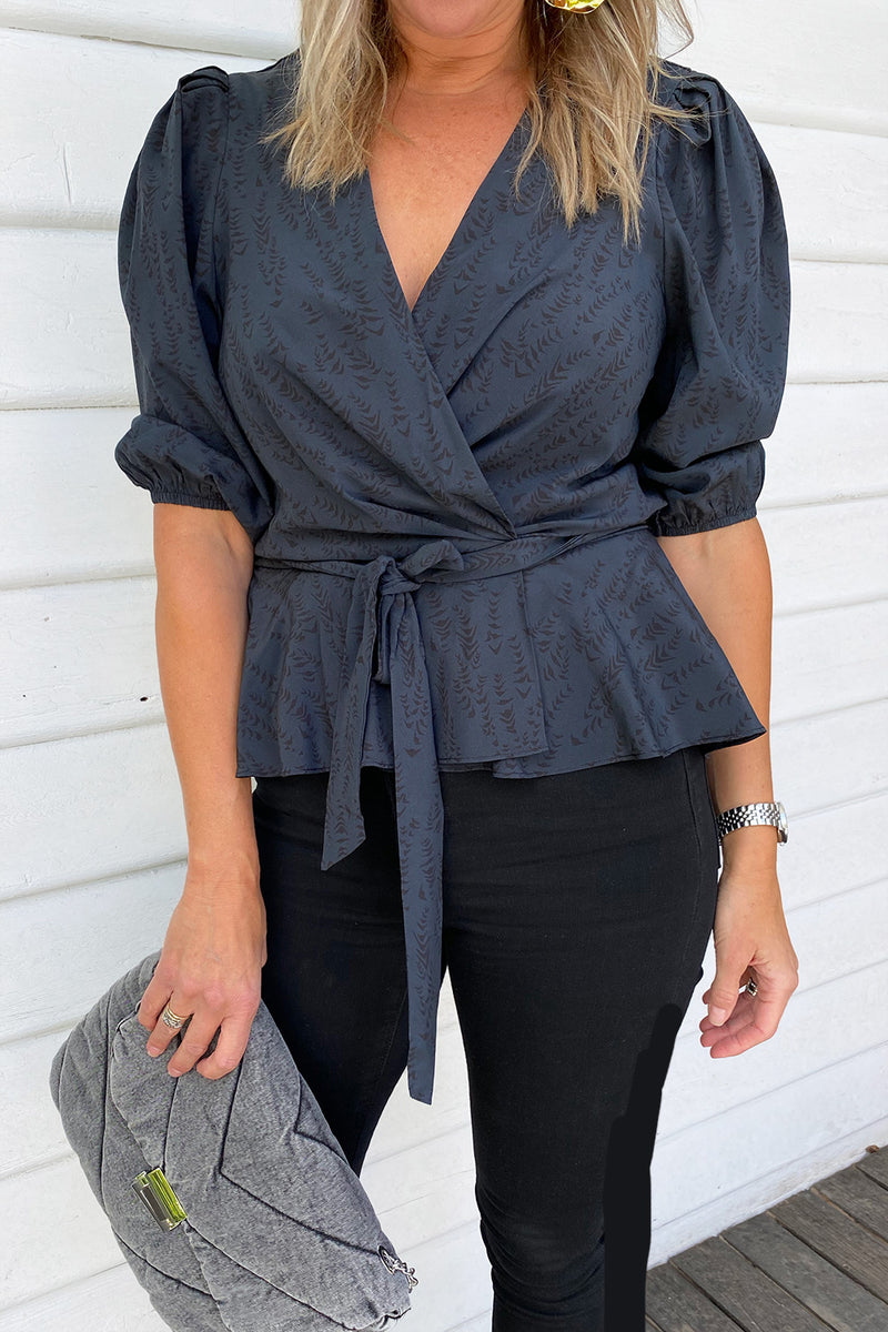 Kerr Silk Wrap Top - Balloon Sleeve