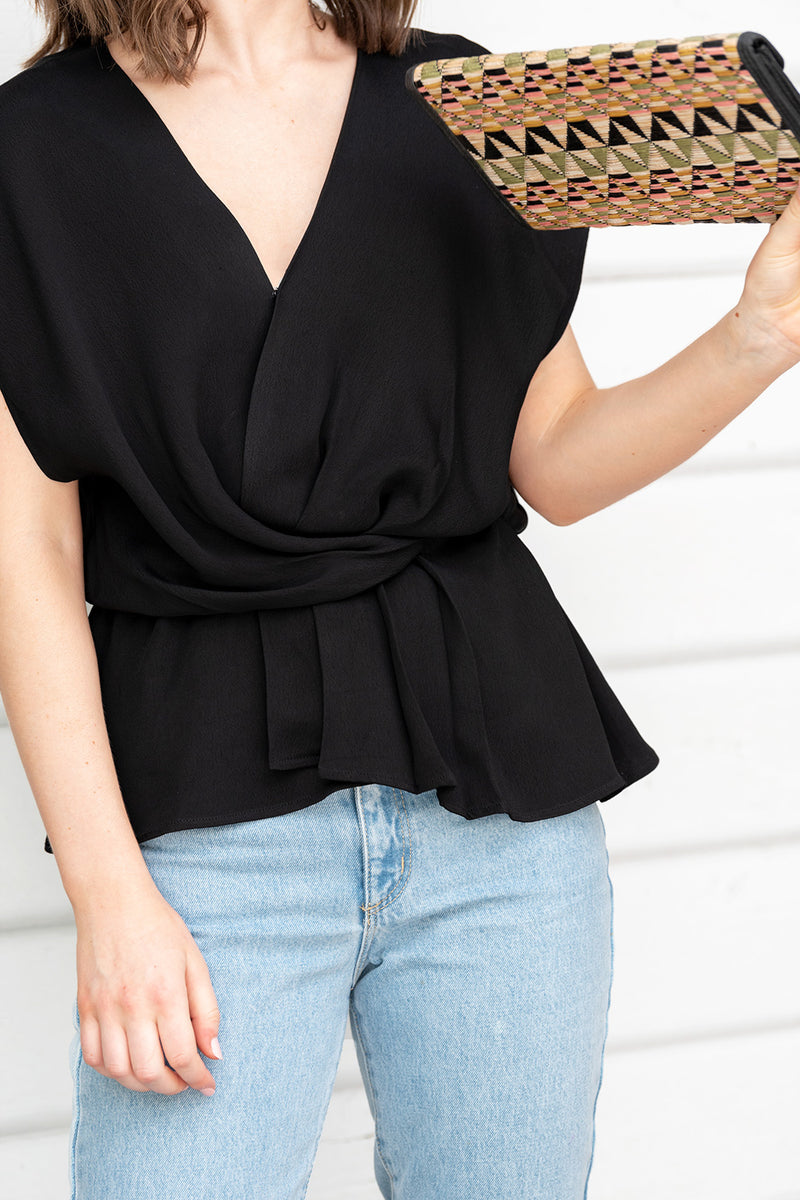 Blair Faux Wrap Top - Plain Crepe