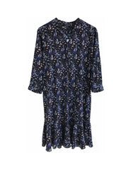 Kristy Silk Shirt Dress with Frill