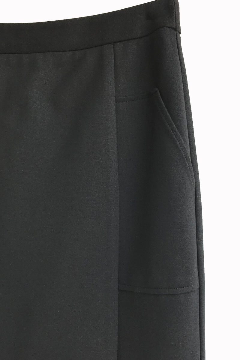 Midi Straight Skirt with Pockets - Black