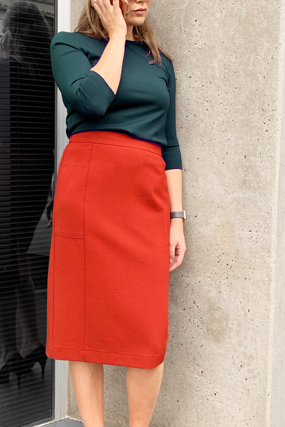Midi Straight Skirt with Pockets - Rust