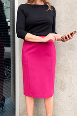 Midi Straight Skirt with Pockets - Pink