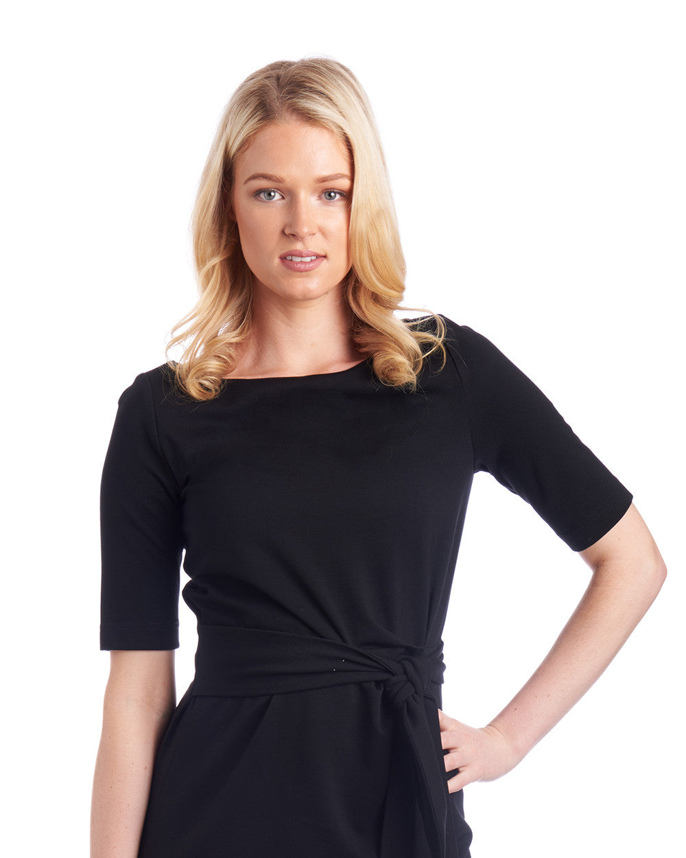 Boatneck tie-waist black dress with short sleeves