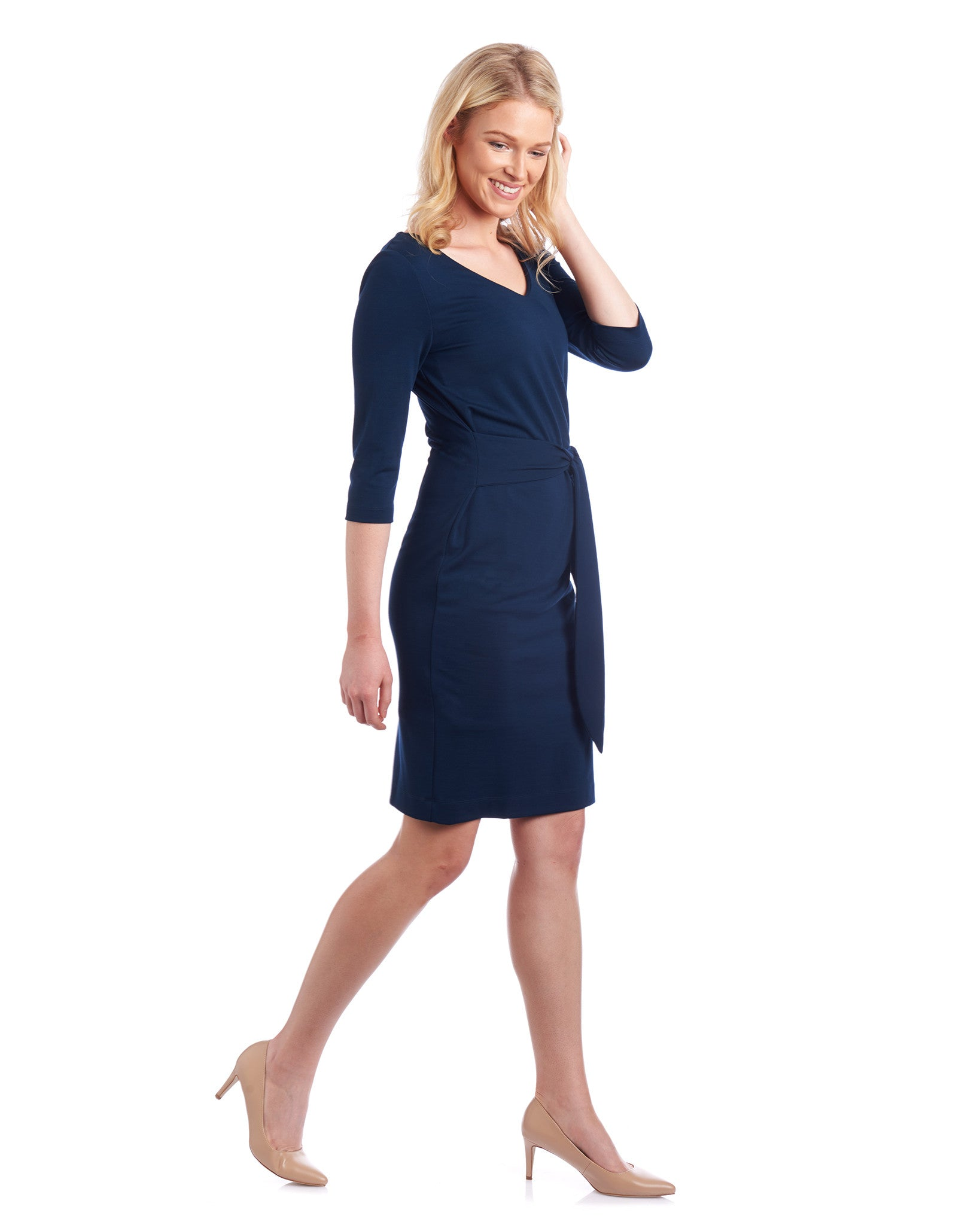 With the Anna Side Tie Pencil Dress you can customise the dress length and neck line