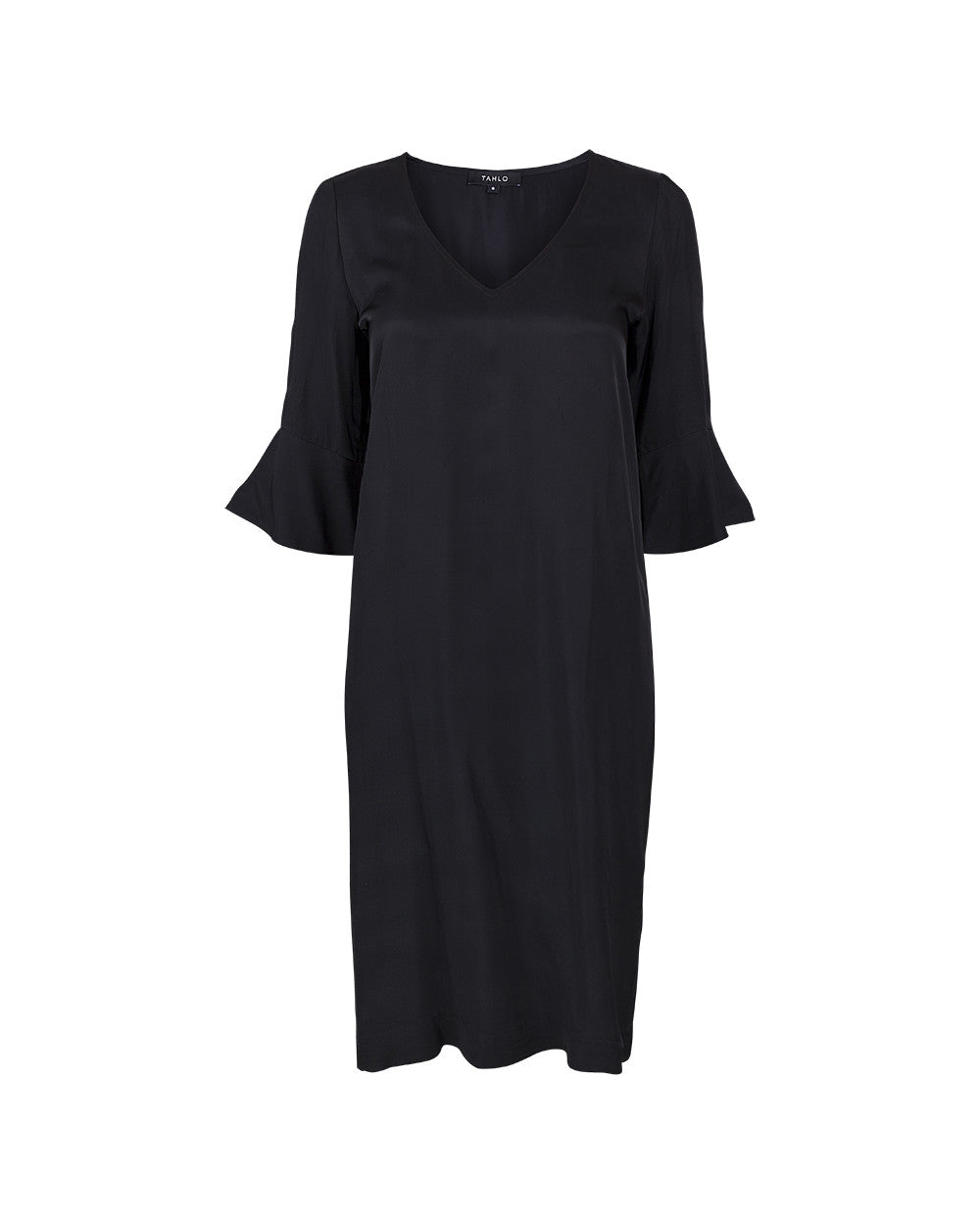 V-neck shift dress with trumpet sleeves in black by Tahlo. Customise this dress length, sleeves and neckline.