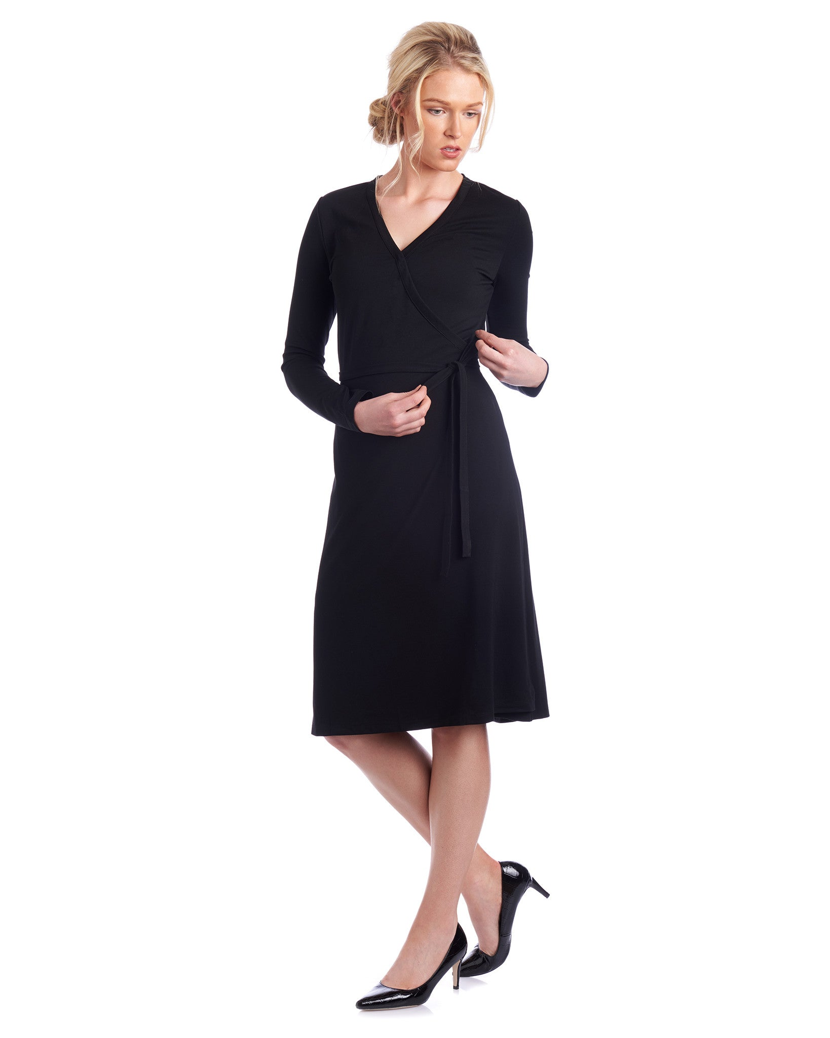 Black wrap dress in an a-line skirt, the perfect Tahlo dress to wear anywhere