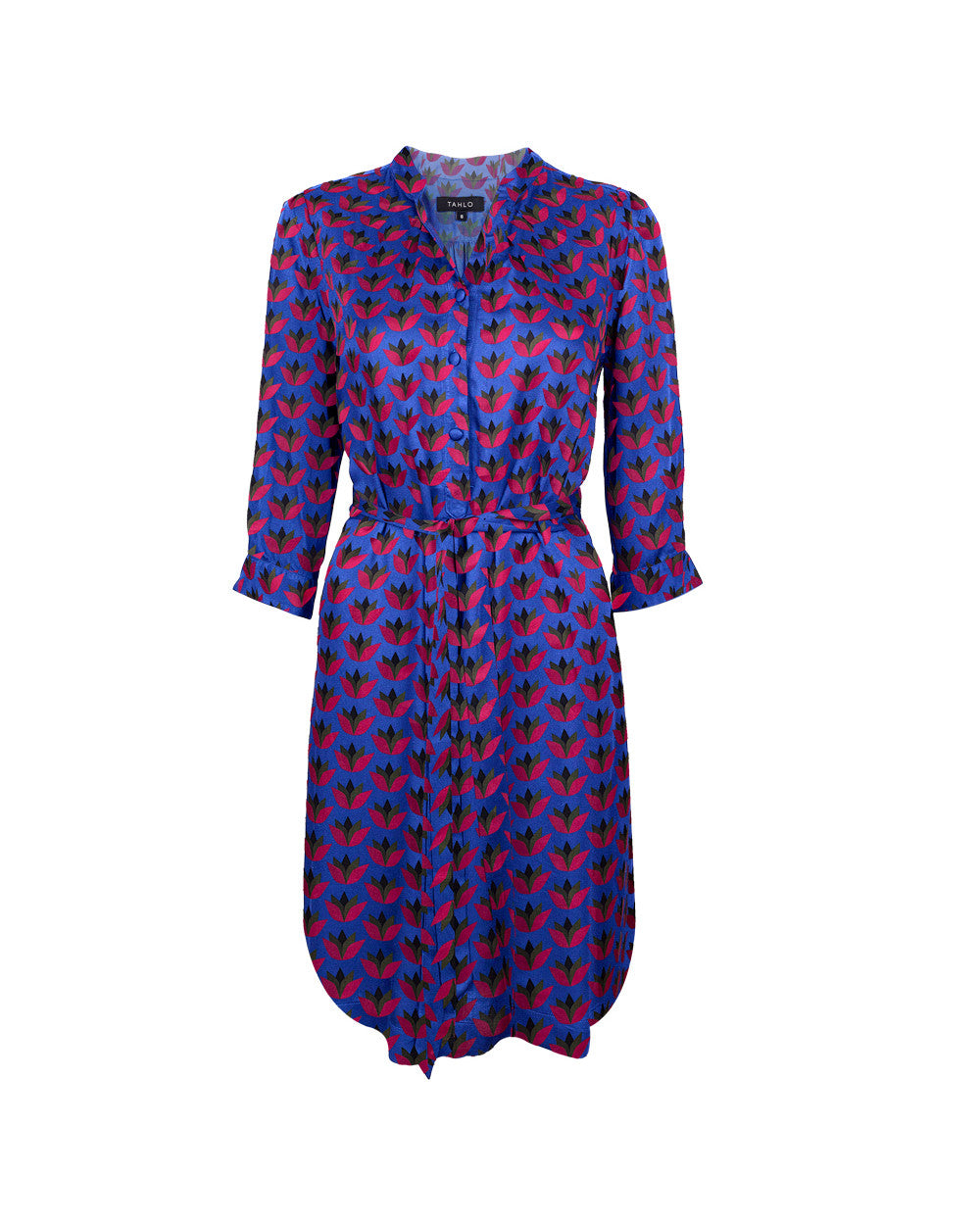 Customised silk shirt dress with Tahlo prints