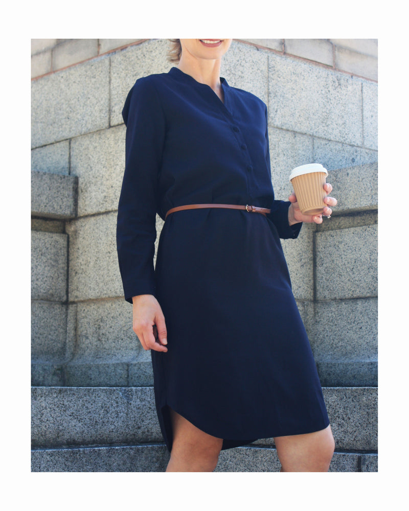 Navy shirt dress with belt, part of Tahlo's customisable workwear collection